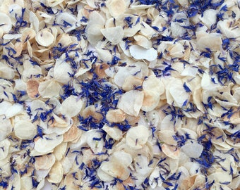 Wedding confetti biodegradable handmixed natural dried petals ivory and blue vintage