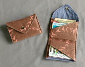 Block Printed Bi-fold Wallet-ARROWS- card wallet- slim wallet- snap closure- travel wallet- vegan wallet