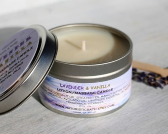 Lavender & Vanilla Lotion/Massage Candle, Natural Soy Wax, Argan and Jojoba Oils, with Lavender Essential Oils and All Natural Fragrance