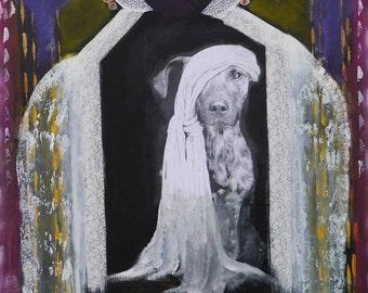 Large acyrlic painting,wood,black,white,yellow,purple,orient,beduine,dog,marocco,henna, face, Beduinenhund by Beate Frieling