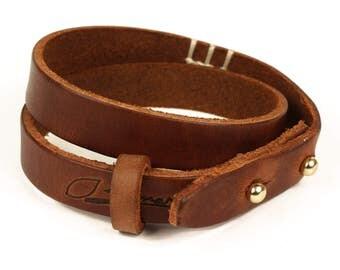 SIMARU leather bracelet men's bracelet leather (vegetable tanning) Brown & Black (Brown)