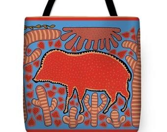 Southwest Desert Javelina Tote Bag - Javelina Travel Tote Bag - Decorative Southwest Throw Pillow - Housewarming ReUsable Shopping bag Gift