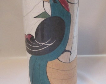 Vintage One-of-a-Kind Handcrafted Art Pottery Vase w/Large Stylized Bird on Bamboo