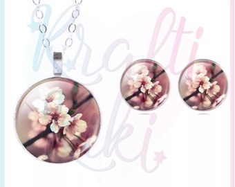 Pink Cherry Blossom Necklace & Earring Set