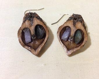 Amethyst & Kyanite - Walnut Heart Earrings