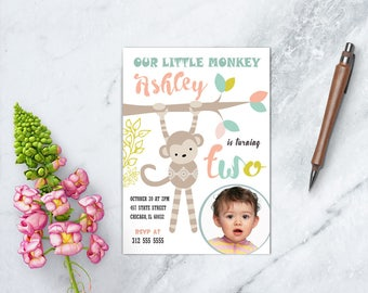 Monkey Birthday Invitation, Little Monkey Invitation, Jungle Invitation, Girl Birthday Party, PRINTABLE