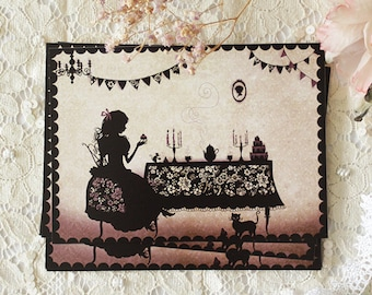 Postcard - Illustrated postcard - miss shadow - silhouette - cameo - Birthday party - invitation - The Tea Party