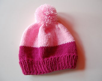 Pink Hand-Knitted Beanie with Pompom