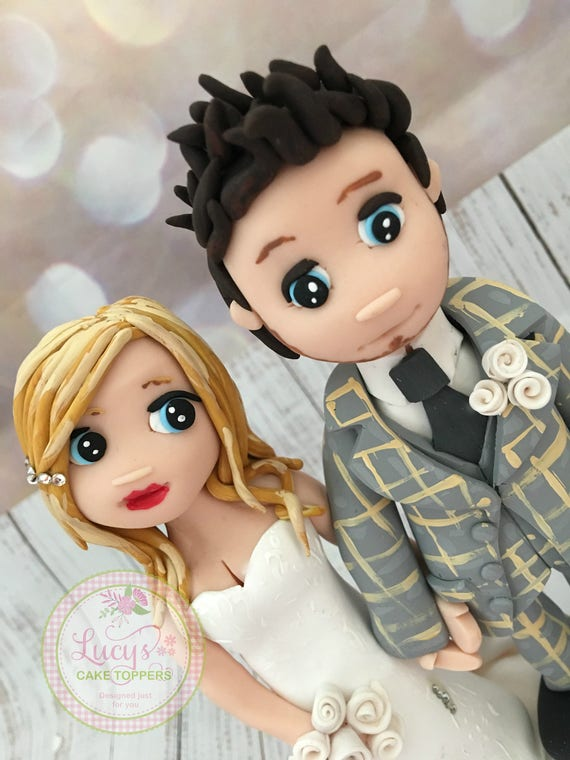 Wedding cake Topper - Fully Personalised  Bride and Groom figures - Trendy Couple - a lovely keepsake