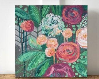 Wintergreen Rose- 12x12 Original Acrylic Painting