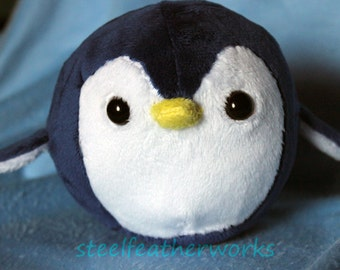 Roly Poly Round Penguin Plush - Midnight Blue