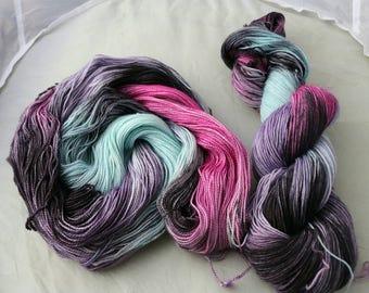 Cassiopia. Handdyed luxury yarn. On superwash merino sock yarn.