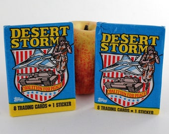 Vintage Desert Storm Trading Cards, Coalition for Peace, 8 Topps Trading Cards and 1 Sticker in Each Pack