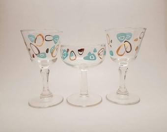 Federal Amoeba Glasses x3, Federal Atomic Boomerang Glasses