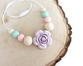 The Nella ~ Toddler Chew Bead Necklace for little girls/Toddler Teething Necklace/ Pink lilac and mint/Silicone Chew Bead Necklace ~