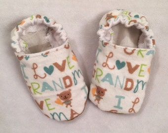 I love grandma baby booties, crib shoes, infant, slippers, cute, soft