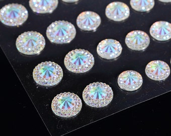 CB66SW- 50 Self Adhesive AB Pointed Faceted Diamante Rhinestone Stick on Gems