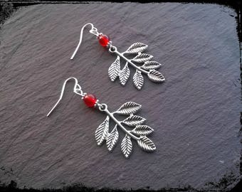 Silver rowan leaf and rowan berry earrings, with carnelian, pagan, ogham, druid
