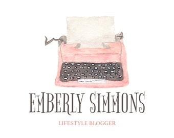 Watercolor, Typewriter logo, Blog logo, custom logo, Blog header,
