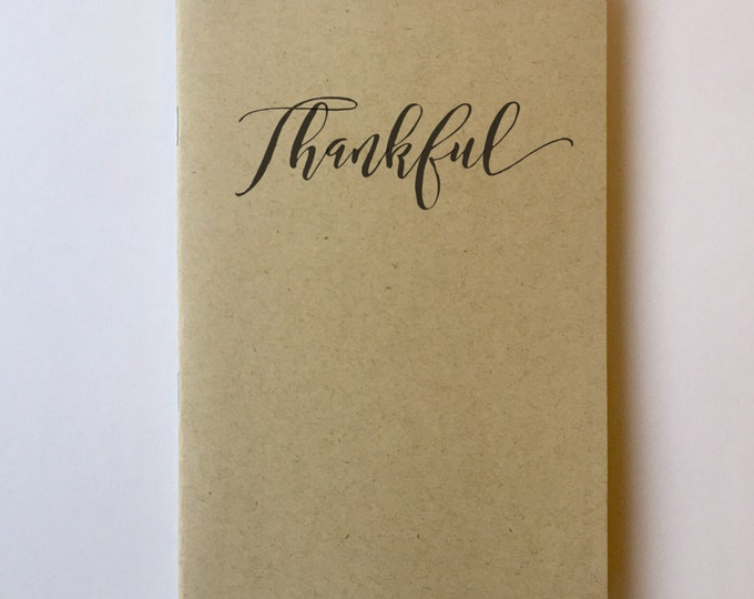 Thankful Notebook journal diary premium notebooks typography thanksgiving thoughtful motivational phrase book pocket notebook logo free