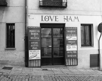 Spain Photography, Love Ham, Shop, Salamanca, Spanish Decor, Kitchen Decor, Travel, Fine Art Print, Black and White, Europe, Jamón, Wall Art