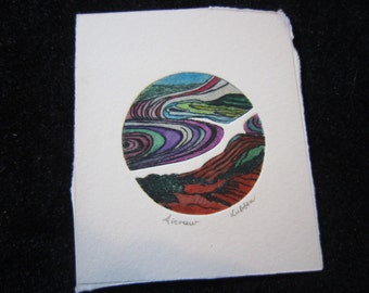 Original Miniature Color Etching Airview by F. Lubben