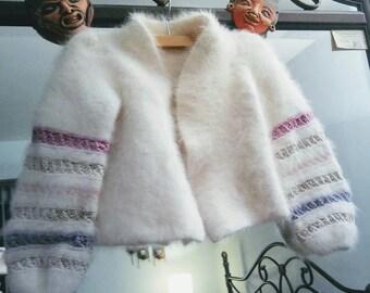 Vintage Angora Ivory Cropped Bolero Sweater