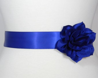 Royal blue sash etsy for Blue sash for wedding dress