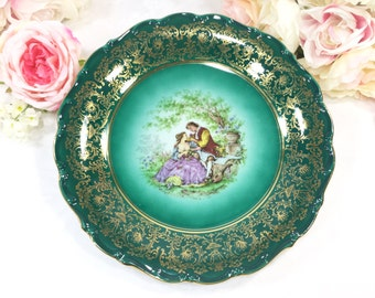 Green Fragonard Handpainted Love Story, Courting Couple, German Display Plate, Germany, Wall Decor #A300