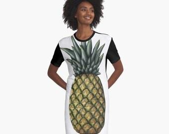 PINEAPPLE T-Shirt Dress Art Fruit Food Tropical White Black Yellow Mustard Green XS S M L XL 2XL Woman Teen Wearable Art Clothing