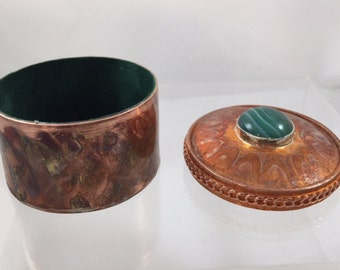 """Small Copper Box with Jasper Stone, 1.5"""" tall, 2"""" wide"""