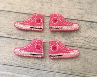 4 hot pink sneaker shoe felties  multiple sizes available