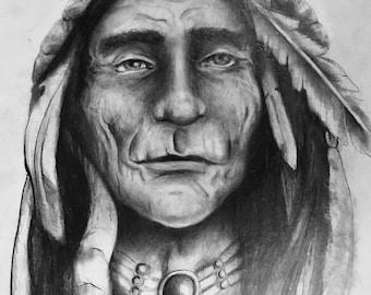 Native Chief Pencil Portrait