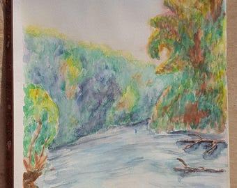 Down The River Watercolor ORIGINAL