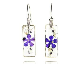 Thin Rectangle Real Flower Earrings