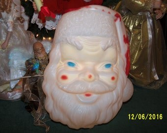 Vintage Plastic Santa Face Decoration Etsy