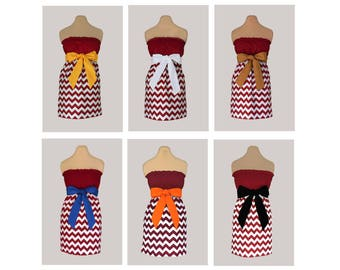 Pack of 6 Deep Red Chevron Dresses - Any Combination of Sash Colors