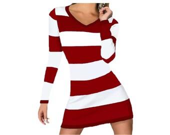 Deep Red + White Stripe Spirit Dress