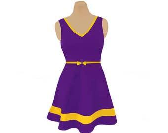Purple + Bright Gold Skater Dress