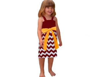 Deep Red + Yellow Chevron Game Day Dress- Girls