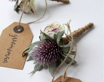 Artificial Rustic  Thistle and purple Ranunculus Buttonhole. Boutonniere. Corsage. Wedding flowers.