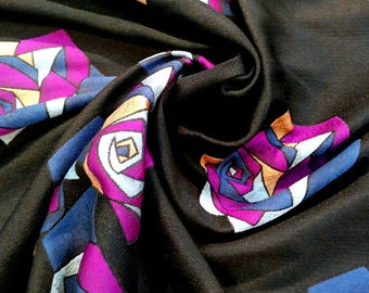 Black jacquard pink flower fabric #899