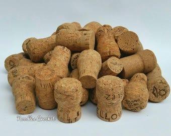 Wine corks, used wine corks, natural corks, 40 sparkling wine corks, craft supplies, art supplies, wine cork craft, DIY craft, DIY project