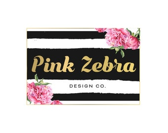 Logo Design Branding Package Premade Graphics Custom Text Gold Pink Floral Black And White Stripes