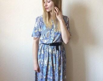 Vintage 70s Blue Paisley Maxi Dress