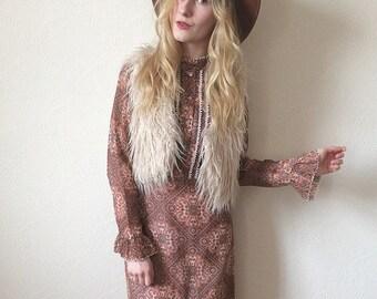 Vintage 70s Bohemian Maxi Dress size S