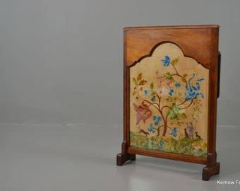 Mahogany Crewel Work Fire Screen