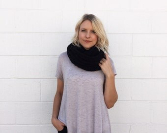 Crocheted / Knit Infinity Scarf - Black -  Made to Order
