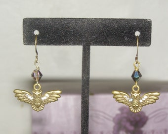 Owl in Flight Earrings