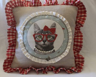 French country style cat pattern pillow cover,